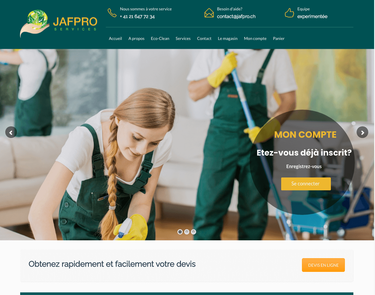 Conception et developpement E-commerce  - Jafpro.ch